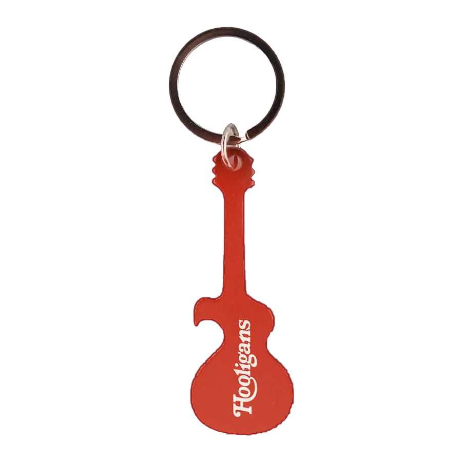 Hooligans gravírozott, üvegnyitós kulcstartó (piros)